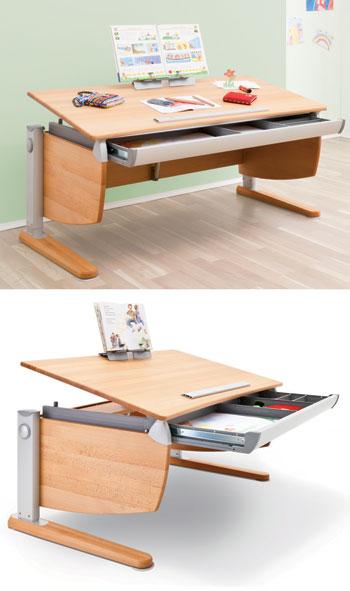 Детский письменный стол из массива бука Moll Intero Comfort beech